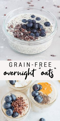 """A basic grain-free overnight """"oats"""" recipe! This recipe replaces the oats with hemp seeds and chia seeds for a make-ahead breakfast that is paleo, vegan, grain-free and keto-friendly. Vegan Keto Recipes, Oats Recipes, Good Healthy Recipes, Gluten Free Recipes, Low Carb Recipes, Whole Food Recipes, Keto Chia Seed Recipes, Paleo Vegan Diet, Vegetarian Keto"""