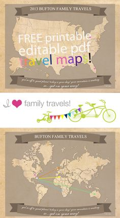 Free Printable Travel Maps from I Heart Family Travel. Very cool!
