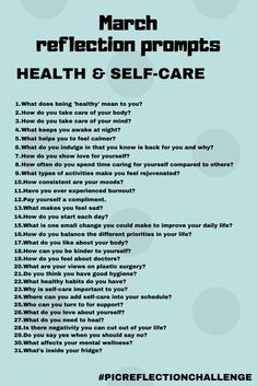 March's daily reflection theme is health and self-care. Questions will cover body and mind, and focus on looking after the most important person - you! January Journal Prompts, Journal Writing Prompts, Journal Ideas, Journal Questions, Therapy Journal, Self Care Bullet Journal, Memoir Writing, Reflection Questions, Mental Health Journal