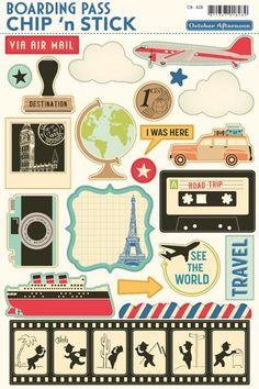 October afternoon paper art and smash journal travel scrapbo Planner Stickers, Scrapbook Stickers, Printable Planner, Printables, Journal Stickers, Album Vintage, Paper Art, Paper Crafts, Travel Scrapbook