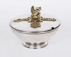 A vintage sterling silver caviar dish by Asprey's.