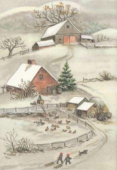 Vintage Illustration Rare Tasha Tudor Vintage Farm Greeting Christmas Card Mint Condition AS Shown - Vintage Christmas Cards, Christmas Art, Country Christmas, Christmas Stockings, Die Tudors, Art Original, Vintage Farm, Arte Popular, Children's Book Illustration