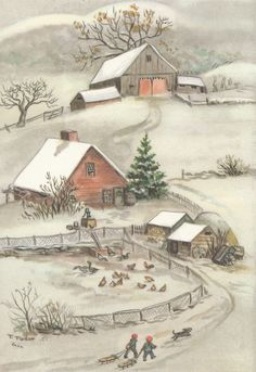 Vintage Tasha Tudor Christmas card; a love letter to old landscapes and Christmases past ...