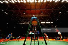 Chris and Gabby Adcock of Great Britain or Team GB (R) compete against Ma Jin and Xu Chen of China in the badminton Mixed Doubles on Day 6 of the 2016 Rio Olympics at Riocentro - Pavilion 4 on August 12, 2016 in Rio de Janeiro, Brazil.