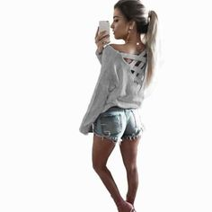 ed5eefb2686 Womens T-Shirt Sexy Bandage Decoration Backless Long Sleeve Ladies Casual  Party Tops 4 Colors Casual Female Shirt