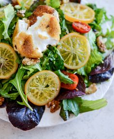 Spring Greens with Candied Meyer Lemons and Spicy Fried Goat Cheese I howsweeteats.com