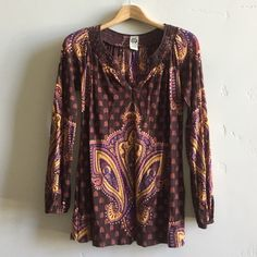 | Lucky Brand Boho Tunic Top Beautiful chocolate and pumpkin boho long sleeve tunic top.  100% cotton.  Made in India.  In excellent, gently used condition. Lucky Brand Tops Tunics