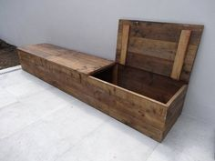 """""""Toftlund"""" timber storage bench with lid - . """"Toftlund"""" lumber storage bench with lid – PURE Wood Design Wooden Storage Bench, Lumber Storage, Diy Storage, Storage Spaces, Storage Ideas, Wood Projects, Woodworking Projects, Palette Diy, Diy Holz"""