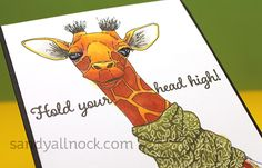 Scroll down for sale info! Quick Giraffe Card *And yes, they wear scarves. Sometimes a stamp set gives me the giggles. And makes me want to color it over and over! This little giraffe wants to be c… Little Giraffe, Cute Giraffe, Baby Giraffes, Alcohol Markers, Copic Markers, Impression Obsession Cards, Sandy Allnock, Unity Stamps, Art Impressions