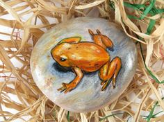 Orange Frog Painted On Rock от DeRocs на Etsy