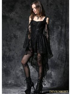 Black Off-the-Shoulder Long Sleeves High-Low Lace Gothic Dress - Devilnight.co.uk