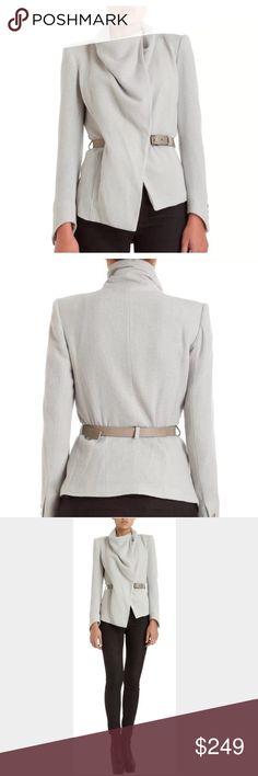 HELMUT LANG Funnel Neck belted jacket. 75% Virgin wool, 25% nylon, label size 0. Jacket in excellent condition, belt has discoloration. No trades Helmut Lang Jackets & Coats Blazers