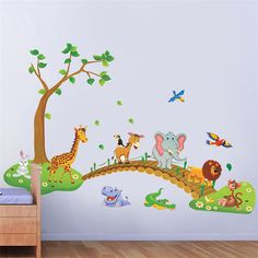 Big Jungle Animals Bridge Vinyl Wall Stickers Kids Bedroom Wallpaper Decals Cute…