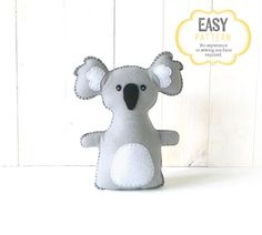 Koala Stuffed Animal Sewing Pattern, Koala Hand Sewing Pattern, Plush Koala, Koala Softie, Koala Stuffie