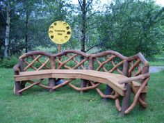 Rustic Wood Outdoor Furniture | Note: This can be made to seat more or less. This particular bench was ...