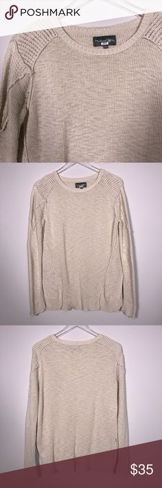 """[Michael Stars] Crew Neck Knit Sweater Side Slits Cotton knit pullover sweater. Relaxed fit with side slits. Neutral beige oatmeal color. Size XS/S.  🔹Pit to Pit: 19"""" 🔹Length: 27"""" 🔹Condition: Excellent pre-owned condition.  *H12 Michael Stars Sweaters Crew & Scoop Necks"""