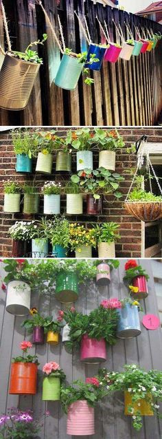 Hang herb plants and flowers in colorful tin cans. Hang herb plants and flowers in colorful tin cans. Hang herb plants and flowers in colorful tin cans. Hang herb plants and flowers in colorful tin cans. Diy Wall Planter, Hanging Wall Planters, Herb Planters, Patio Planters, Hanging Plants Outdoor, Hanging Herbs, Hanging Succulents, Plants Indoor, Porch Plants