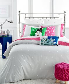 kate spade new york Deco Dot Platinum Full/Queen Duvet Cover Set - Bedding Collections - Bed & Bath - Macy's