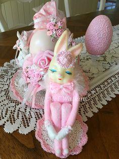 Vintage pink knee hugger Easter bunny rabbit elf <3