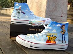 Toy Story Hand Painted Custom Converse Shoes for Men Women High Top Canvas… Disney Converse, Cute Converse, Disney Shoes, Disney Outfits, Custom Converse Shoes, Custom Shoes, Converse Sneakers, Canvas Sneakers, Converse Chuck