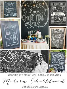 Modern Chalkboard Script Wedding Invitations Inspiration by the Monogram Gallery. Check out our blog for more wedding inspiration! http://www.monogramgallery.ca/modern-chalkboard-script-wedding-invitations/