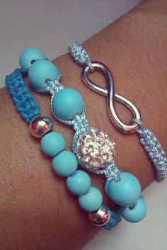 Baby blue and turqoise macrame bracelets by CC Bracelets http://www.facebook.com/CCBracelets2