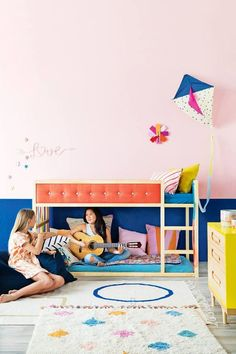 IKEA Kura bed is a great loft bed, it is recommended for 6 years and older. Slatted bed base is included; Baby Decor, Kids Decor, Kura Ikea, Hacks Ikea, Casa Kids, Murphy Bed Ikea, Deco Kids, Deco Design, Little Girl Rooms