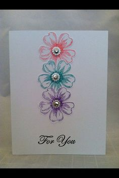 Beautiful, simple and colorful card for any special occasion. You will receive one completed card and all the supplies to make 3 more cards. Great cards to have on hand for any occasion or to give the set as a gift! Envelopes included. Card measures 4.25 x 5.5. Comes from a smoke/pet free home. Thank you