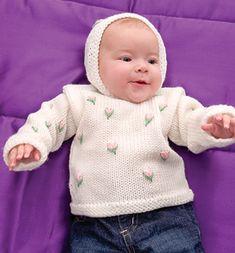 Baby Hoodie with Rosebuds | AllFreeKnitting.com