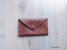 Chestnut Handmade Leather  Envelope Card Wallet
