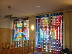 Synagogue Loewenstrasse - Zürich, Switzerland - Artist: Yaacov Agam | Glass Curtain, leaded stained glass