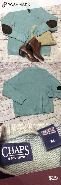 CHAPS 1/4 BUTTON SWEATER Nice sweater with suede like elbow patches. Gently used Chaps Sweaters