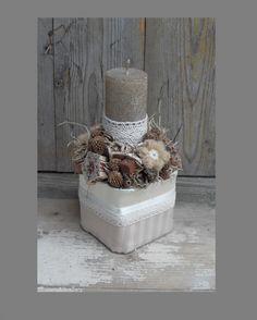 Kicsi Aranyom - Csipkés, vintage asztaldísz arany színű gyertyával,, Dekoráció…