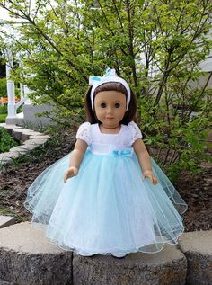 Cotton Candy is a handmade dress to fit an 18 inch doll such as American Girl and others by GPDollDesign on Etsy American Girl Dress, American Doll Clothes, Ag Doll Clothes, Doll Clothes Patterns, American Girls, Dress Patterns, Doll Fancy Dress, Handmade Dresses, 18 Inch Doll