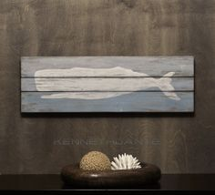 Wooden Plank Art Distressed Whale - by kennethdante
