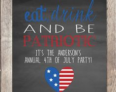 4th Of July, Fourth Of July Party, Independence Day, Eat Drink and be Patriotic, Summer Invitation, 4th Of July Invitation, Party Invitation