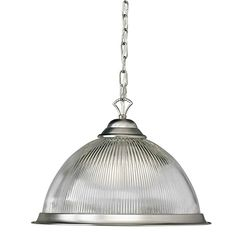 Brushed Nickel One-Light Pendant with Ribbed Glass