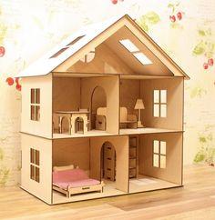 Casa delle bambole fai da te in legno ideas pinterest - Casa americana in legno ...