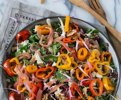 Tri-colored sweet peppers and shallots are sautéed, deglazed with a red wine vinaigrette, then tossed with fresh salad greens, walnuts, feta and herbs. Vegetable Recipes, Vegetable Pizza, Whole Beef Tenderloin, Roasted Okra, Summer Side Dishes, Stuffed Sweet Peppers, Holiday Dinner, Garlic Butter, Parmesan