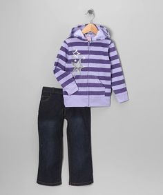 Take a look at this Purple Stripe Zip-Up Hoodie & Jeans - Infant, Toddler & Girls by Blow-Out on #zulily today! #fall