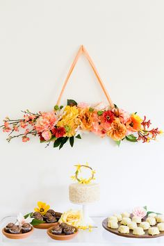 DIY Floral Bough and Cake Topper.  Decorate your wedding and party with fake flowers from Afloral.com.