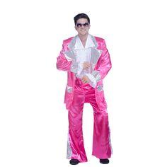 XL Hommes Disco 70 S Rétro Satin volants shirt-rose