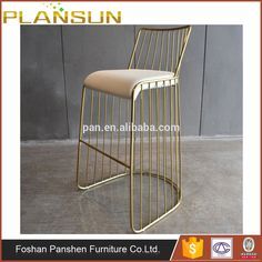 Bar furniture stainless steel wire frame Reza Bar Stool in chrome finish