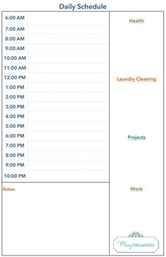 Daily Schedule TemplatePrint Out Education   Pinteres
