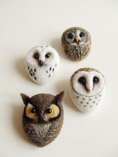 Little Barn Owl Hand Felted Brooch Wool by ShishLOOKdesign on Etsy