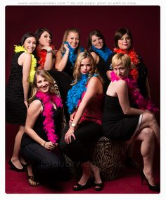 Red background, bachelorette party, photos