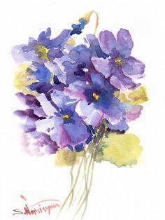 African Violets, Original watercolor painting, 12 X 9 in, purple blue floral art - Suren Nersisyan