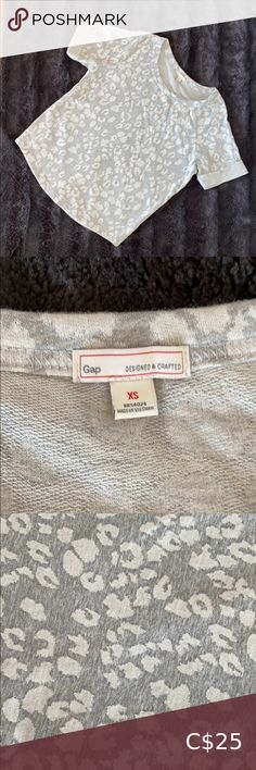 Gap french terry sweatshirt tee Lightweight french terry sweatshirt tee XS, oversized fit Heathered grey & white leopard print Curved hem GAP Tops Tees - Short Sleeve Camo Shirts, White Leopard, Camo Print, Grey Stripes, French Terry, V Neck Tee, Grey And White