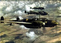 Three Messerschmitt Bf 110 in the sky. The BF110s were the most used German heavy warplanes during World War II. Development of the Me 210, which was suppose to replace the BF 110 began before the war, but with severe issues in development the BF 110 remained Germany's primary heavy fighter throughout the war