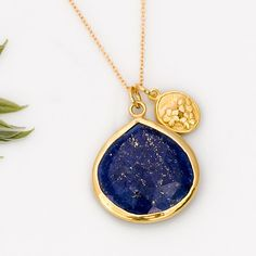 18K Vermeil Flower Charm Necklace with bezel set Natural Blue Lapis drop in 14K gold filled Chain